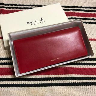 特價 二手商品✖️agnes b. 經典紅草寫字母 牛皮長夾