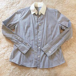 🚚 藍白線條修身襯衫
