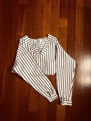 the editors market striped v-neck blouse in monochrome black x white