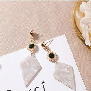 Korean Marble and Gold Earrings