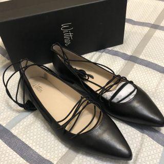Wittner Black Lace-Up Flats - Size 41 / 10AUS