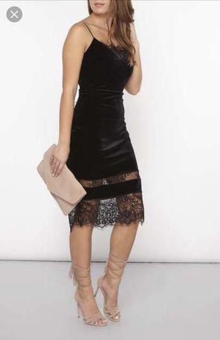 Brand new black velvet lace dress