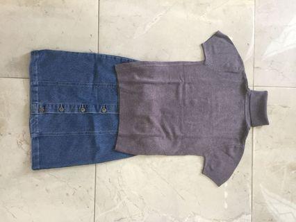 Grey Knit Halter Neck Top