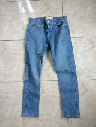 Cropped Jeans Topman Washed Blue size 30 x 30