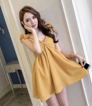 黃色小仙女澎澎吊帶連身裙洋裝