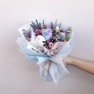 🚚 Preserved Dried flower bouquet | Graduation Flower | Birthday Gift | Anniversary Flower | Roses | Blue roses | Flower Delivery | 永生花 花束|鲜花运送 |蓝玫瑰