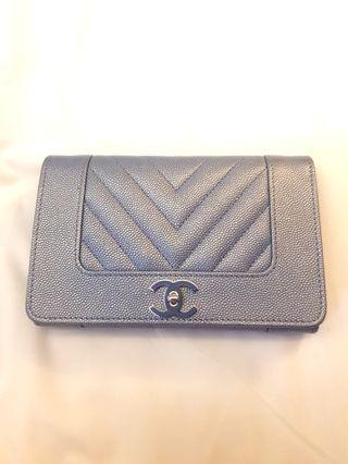 Chanel Mademoiselle Blue Caviar Wallet 19p (Rare)