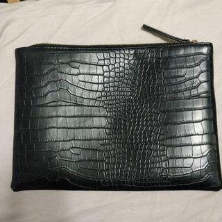 Faux Croc Clutch Bag