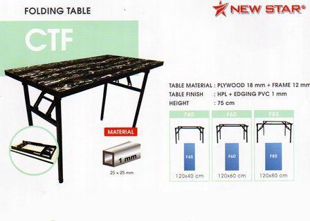 Meja Lipat (Folding Table) New Star CTF Wood F80