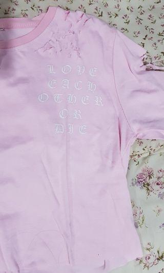Distressed Crop top baby pink