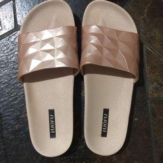 Dusty pink gold sandal jelly sendal murah