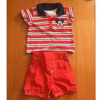 🚚 正版迪士尼Disney baby米奇logo 短袖上衣+短褲套裝12-18m