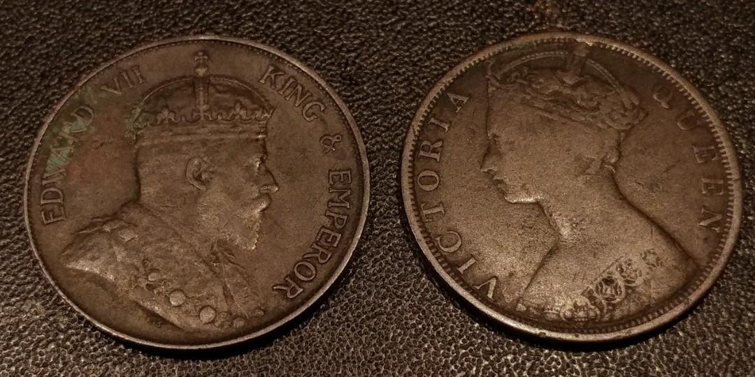 1904H年及1899年香港一仙銅幣共2枚