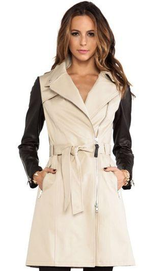 MACKAGE AVRA LEATHER SLEEVE TRENCH - SMALL