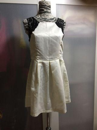 Black lace/creamy dress, free