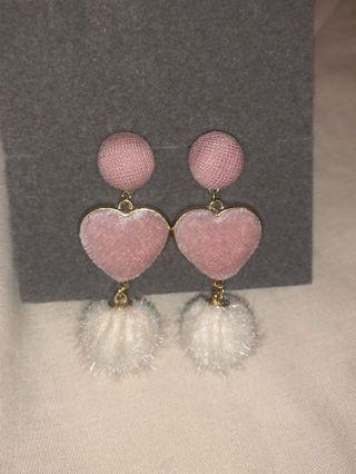 Chuu Pom Pom Heart Drop Earrings