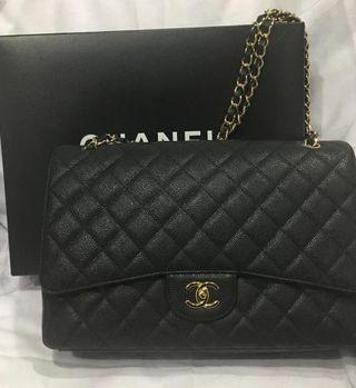 Authentic Black Chanel ClassicJumbo Caviar