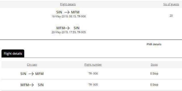 Two way - return Scoot flight ticket (Singapore-Macau-Singapore)