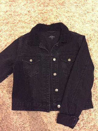 Factorie Black Cropped Denim Jacket