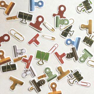 Stationery paper clip bulldog flake stickers