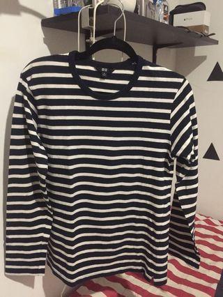 T-shirt / Kaos Stripe Uniqlo lengan panjang