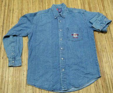 hard rock denim collared shirt