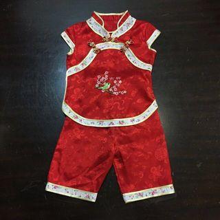 🚚 Kids Cheongsam Top And Shorts ( Mandarin Chinese Oriental CNY New Year Red Cheong Sam Flower Bird Kid Child Children Toddler Baby Infant )