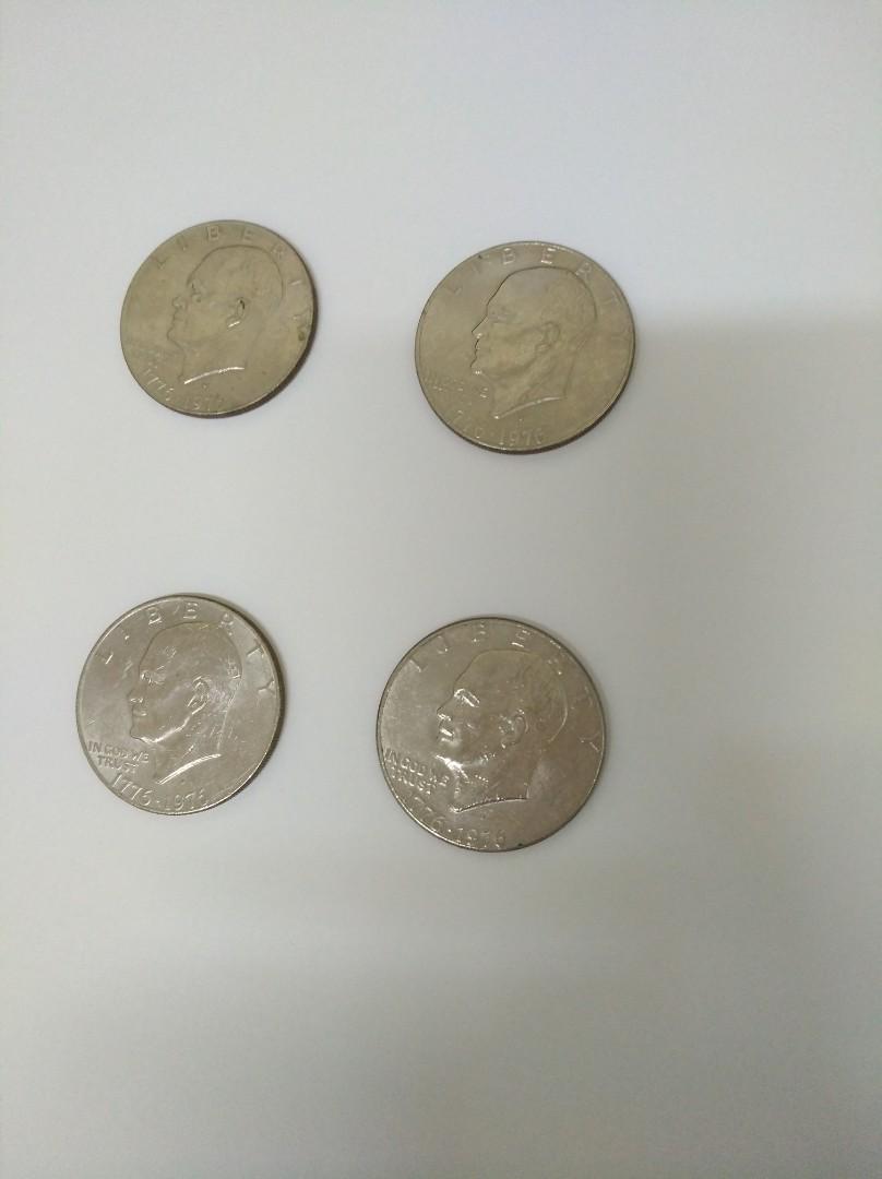1976年美國一元銀幣四個真品
