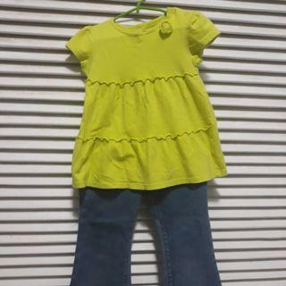 Flared Pants with Matchy Yellow Green Top