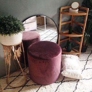 Velvet round ottoman