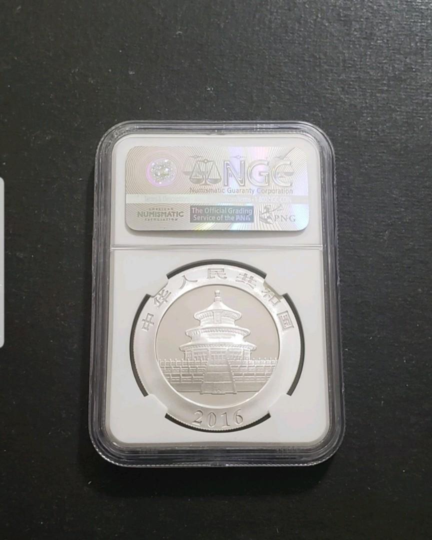 2016年中國熊貓$10銀幣 30g Ag .999  已評滿分NGC MS70分 最高分數