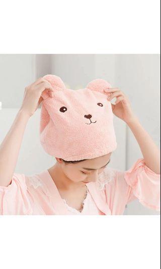 🚚 可愛小熊浴帽毛巾加厚吸水浴帽