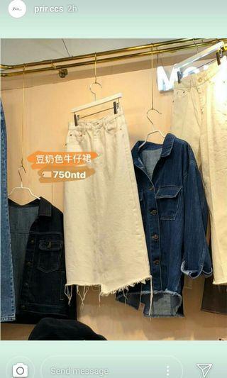 Prir Korea 奶白色牛仔裙