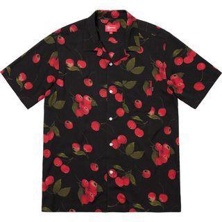 Supreme Cherry Rayon Shirt 黑色櫻桃短袖襯衫 L號
