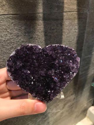紫水晶心心 水晶手鏈消磁 充電