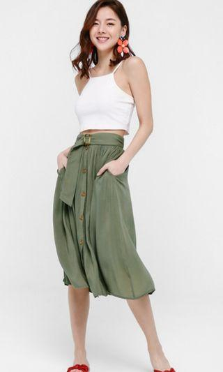 🚚 Love Bonito Ulyssa Belted A-line Full Skirt Olive Green M