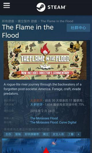 The Flame in the Flood 高分生存冒險遊戲 Steam 正版全球 Key