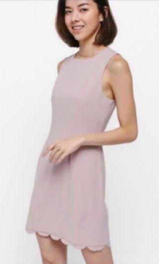 Love bonito LB Adoette nude scallop hem dress S size
