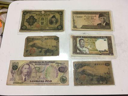 外國紙鈔6張合售