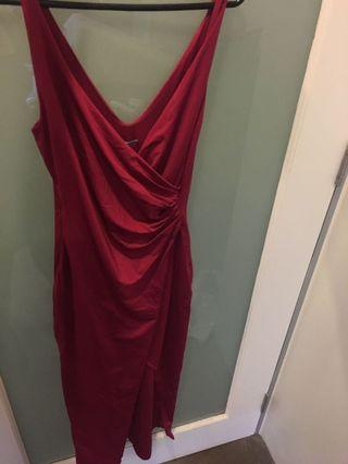 🆕Kookai Long Burgundy Dress with split size 2