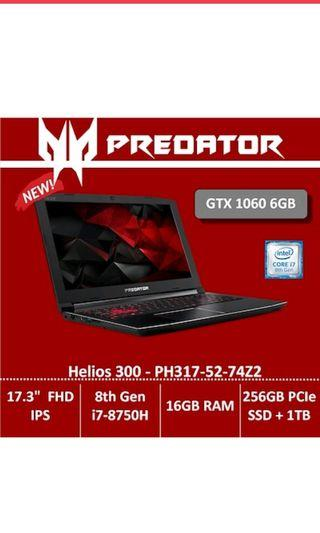 Predator Helios 300 PH317-52-74Z2 Gaming Laptop - 17.3-inch FHD IPS LED-backlit Display