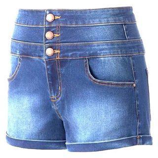 Button High Waist Denim Jeans Shorts