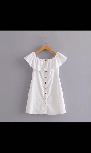 🚚 White Button Off-Shoulder Dress