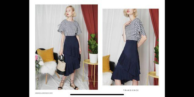 🚚 Tiered skirts (Navy, Nude & checked black&white)