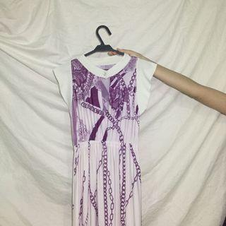 White and Purple Long Dress