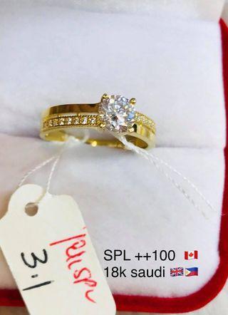 Engagement ring 18k Saudi gold guaranteed pawnable