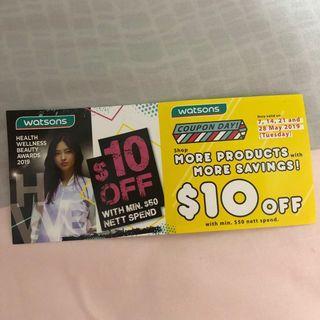Watsons $10 Off Voucher