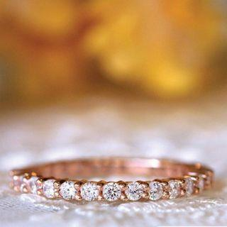 Stacking rings 18K rose gold diamonds Moissanite wedding band