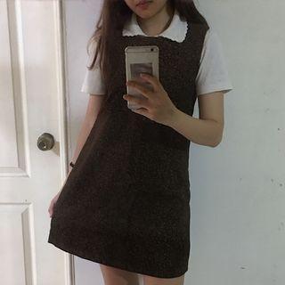 🚚 洋裝- 復古 古著 貼身 無袖 花紋 深棕色 洋裝
