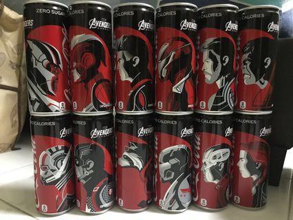 Coca Cola Coke Avengers set of 12 cans